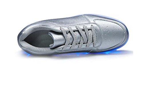 Littlepanda USB Charging LED Light Luminous Sport Shoes Flashing Sneakers 07 Silver FmAqN9BAW