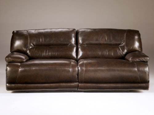 Ashley Furniture Signature Design – Exhilaration Reclining Sofa – Pull Tab Manual Reclining Couch – Chocolate