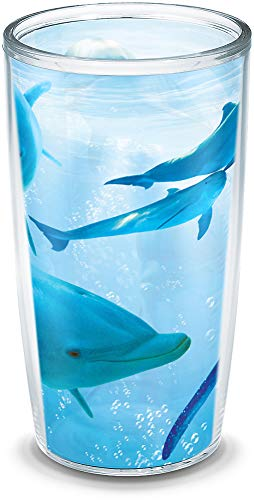Tervis 1193878 Dolphins Insulated Tumbler with Wrap, 16oz, Clear ()