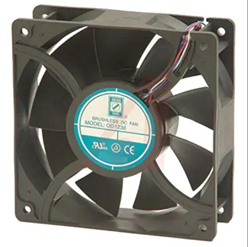 ORION OD-series,120x120x38mm 9-blade High Performance DC Axial Cooling Fan, High/Variable Speed, High Airflow, Dual Ball Bearing, 11 inch 4-wire leads (with Tachometer and PWM), CE, ROHS, UL, CUL, ()