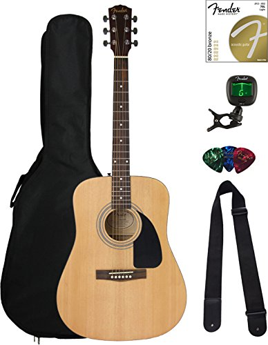 Acoustic Dreadnought Natural - Fender FA-100 Dreadnought Acoustic Guitar - Natural Satin Bundle with Gig Bag, Tuner, Strings, Strap, and Picks