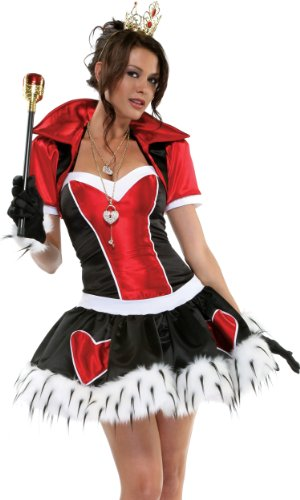 Head Off Costume (Forplay Women's Off With Her Head Dress, Black/Red/White Trim, Medium/Large)