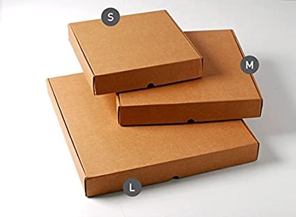 Selfpackaging Caja de Pizza en microcanal Color Kraft Disponible en 3 tamaños. Muy Resistentes.