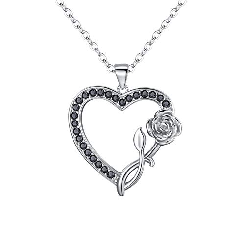 BriLove Women's 925 Sterling Silver Vintage Rose Heart Pendant Necklace Black (Good Ideas To Ask A Girl To Prom)