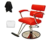 LCL Beauty Red Plus Line Heavy Duty Extra Large Deluxe Steel Reinforced Hydraulic Lift Styling Chair