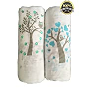Muslin Swaddle Blankets 2 Pack - Seben Baby - 47 x 47  - 100% Cotton - Tree Bird and Owl - Unisex for Boys or Girls