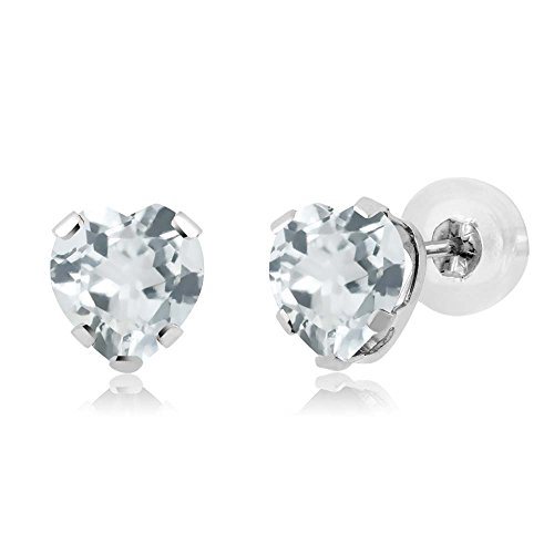 Gem Stone King 0.76 Ct Heart Shape Sky Blue Aquamarine 14K White Gold 5-prong Stud Earrings 5mm