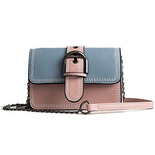 Meaeo Embroidery Shoulder Bag Messenger Bag Line, New Fashion, Wild, Beige Blue