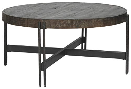 Farmhouse Coffee Tables Signature Design by Ashley – Jillenhurst Round Rustic Cocktail Table, Dark Brown farmhouse coffee tables