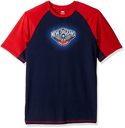 (NBA Youth Boys 8-20 New Orleans Pelicans Short Sleeve Rash Guard-Red-M(10-12))