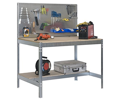 Simonrack 778100045159062 - Banco de trabajo (1440 x 900 x 600 mm, 2 estantes y 1 panel perforado, 400 kg - 250 kg) color galvanizado/madera 8435104929032