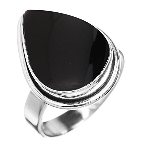 (5.10ctw, Genuine Black Onyx 10x14mm Pear & .925 Silver Plated Handmade Fashion Ring (Size-7))