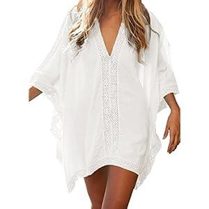 Landove Vestido de Playa Encaje V-Cuello Traje Ropa de Baño para Mujeres Camiseta Manga Murcielago Boho Hippie Camisolas… | DeHippies.com
