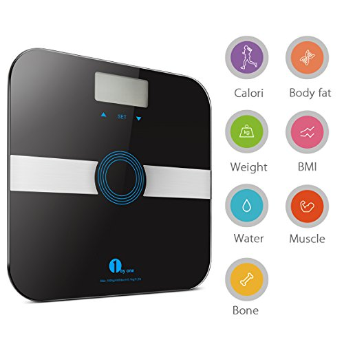 -[ 1byone Body Fat Scale Body Scale Bathroom Scale with Tempered Glass, 180kg/400lb Weight Capacity