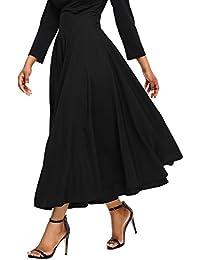 Womens Casual Solid Button Front High Waist Summer A-Line Long Maxi Skirt  with Pocket 6c684e6d6e41