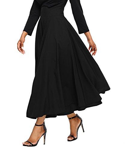 Asvivid Women's Solid High Waisted Full Midi Skirt Pocket Long Skirt Dresses X-Large Black
