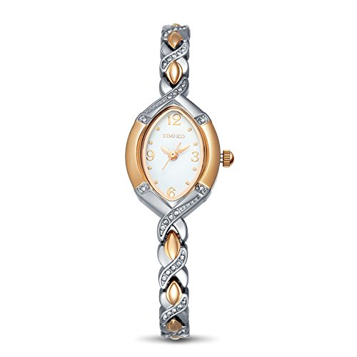 Time100 Fashion Diamond Oval Steel Rose Golden Two Tone Bracelet Ladies Watch W50170L01A