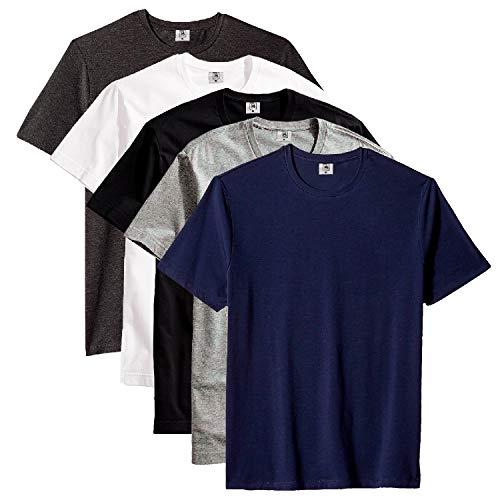 Kit com 5 Camiseta Masculina Básica Algodão Premium (Caicos, P)
