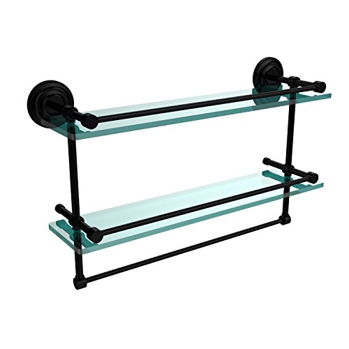 22 Bkm Matte (Allied Brass QN-2TB/22-GAL-BKM 22-Inch Gallery Double Glass Shelf with Towel Bar, Matte Black)