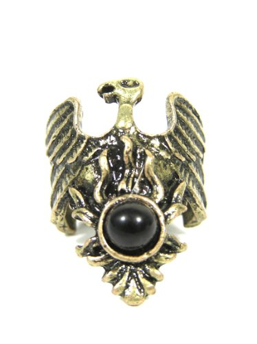 Magic Metal Phoenix Ring Size 6.5 Antique Heraldic Eagle Falcon Crest RD20 Vintage Hawk Black -