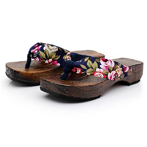 Ainiel Woman's Japanese Traditional Clogs Geta Sandals (36 (US5.5), Navy Blue)