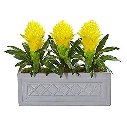 Nearly Natural 8590-YL Bromeliad Artificial Stone Planter Silk Plants Yellow [並行輸入品] B07QVFY81K