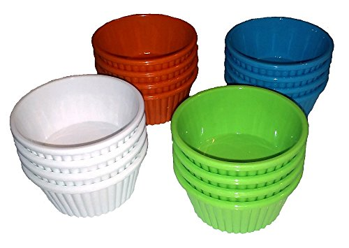 Plastic Ramekin Sauce Cups, Four Each of Four Colors (16 total)