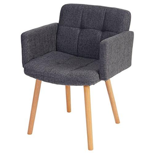 Esszimmerstuhl Orlando II, Stuhl Lehnstuhl, Retro-Design ~ Textil, grau