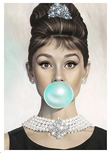Van Eyck Audrey Hepburn Tiffany Blue Bubble Gum Canvas Print Wall Art for Living Home Decoration(16x20 inch with Inner Frame) by Van Eyck