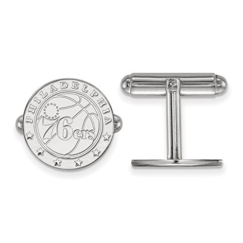 LogoArt NBA Philadelphia 76ers Cuff Links in Rhodium Plated Sterling Silver by LogoArt