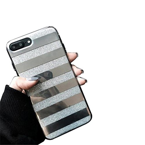 Voberry Glitter Powder Phone Case Mirror Striped Pattern Back Cover for iphone 7 Plus 5.5Inch (Silver) (Case Striped Card)