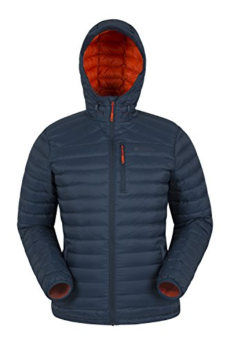 Mountain Warehouse Henry Mens Down Padded Jacket - Lightweight Overcoat, Showerproof Rain Coat, 2 Front Pockets & A Chest Pocket - Great for Cold Weather Petrol Blue
