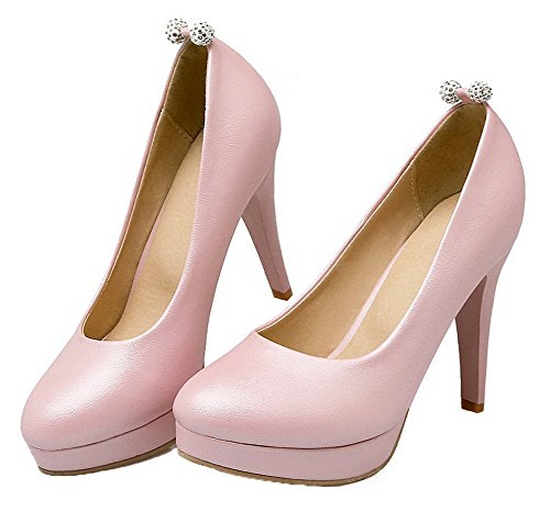 Amoonyfashion Femme Talons Hauts Matière Souple Douce Bout Rond Chaussures-chaussures Rose