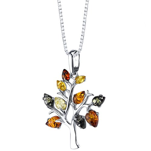 Baltic Amber Tree of Life Pendant Necklace Sterling Silver Multiple Colors