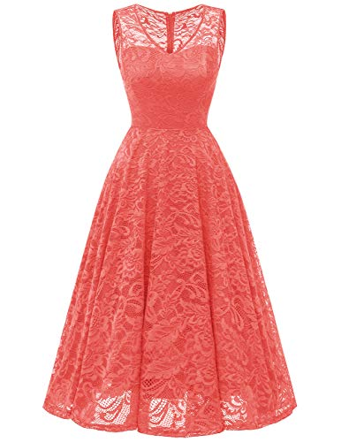 Meetjen Women's Cocktail V-Neck Dress Floral Lace Tea-Length Bridesmaid Party Dress Midi Coral M -