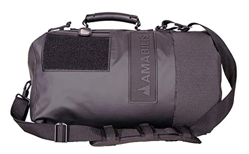 AMABILIS Dave Jr Water Resistant, Heavy Duty Tactical Duffel Bag, 18 x 10 Inches - 23 Liters/1413 cu.in, Stealth Black