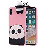 iPhone Xs Max Case for Girls Women, Awsaccy(TM) Girly 3D Cartoon Panda Animals So Cute Lovely We Bare Bears Grizzly Soft Silicone Case Cover for Apple iPhone Xs Max 6.5 inch, Pink
