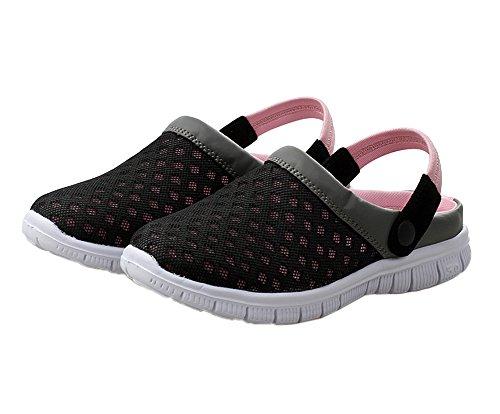 Genda 2Archer Men Women Summer Breathable Mesh Net Cloth Slippers Beach Sandals Black Pink GXBvJ