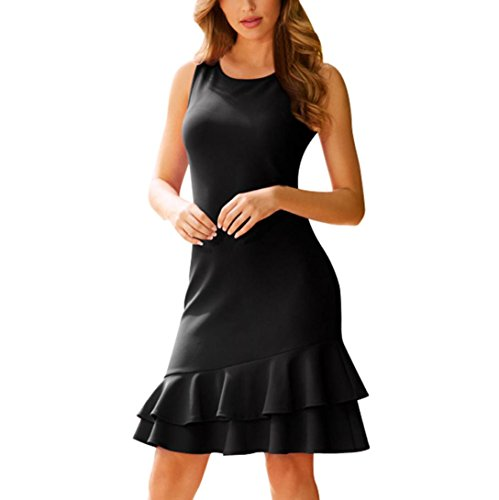 Summer Ruffle Sleeveless Dress Women Bodycon Slim fit Party Short Mini Dresses: Sports & Outdoors