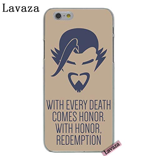 CH Beige Blue Overwatch iPhone 6 Case Hanzo I Phone 6S Cover with Every Death Comes Honor with Honor Redemption Quote Over Watch PC Gaming Theme Esports Computer Game, Hard Plastic