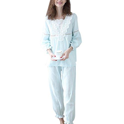 Zhhlaixing Fashion Soft Pullover Pyjama Set Womens Long Sleeve Cotton Nightwear One Size Green