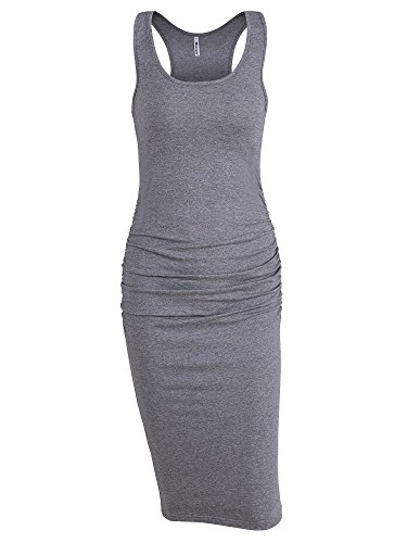 Missufe Women's Ruched Bodycon Sundress Midi Fitted Casual Dress (Grey, Small)