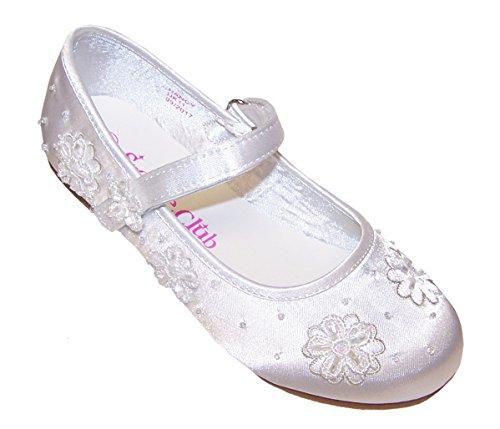 Sparkle Club Girls' White Satin Flower Girl Bridesmaid Communion Wedding Ballerina Shoes Satin Flat]()