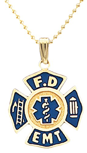 US Jewels And Gems 10k Yellow Gold Blue Fire Department FD EMT Badge Charm Pendant 2mm Bead Chain Necklace