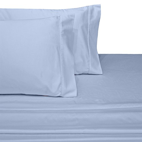 CinchFit SPLIT HEAD FLEX KING With NO RIP Guarantee Adjustable Bed Sheet Set 600 Thread Count 4PC 100% Cotton (Light Blue) (Head Split)