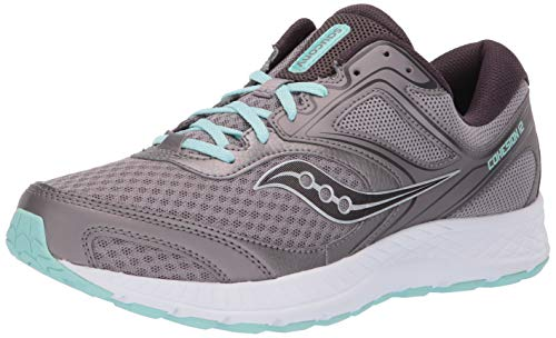 Saucony Women's VERSAFOAM Cohesion 12 Road Running Shoe, Grey/Teal, 5 M US