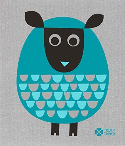 (Trendy Tripper Jenn Ski Reusable Swedish Dishcloth Modern Sheep Two-Tone Turquoise (Two-Tone Turquoise on Grey))