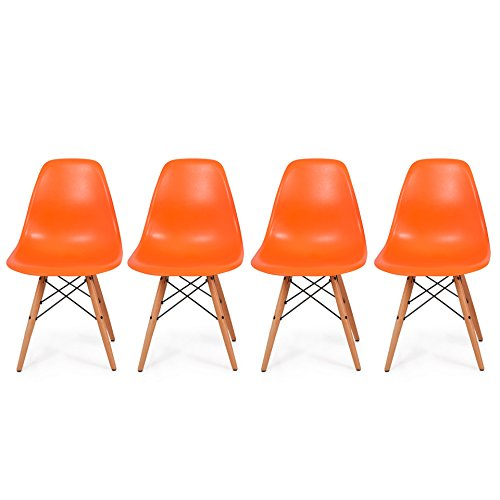 Set of 4 Retro Style Wood Base Mid Century Modern Shell Dining wooden Chair Dowel legs Orange #565 (Target Chairs Lounge Pool)