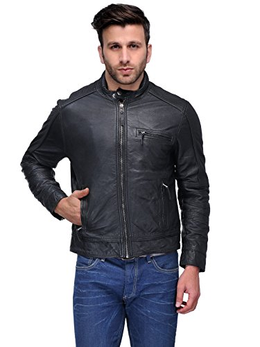 100% Real Genuine Lambskin Leather Jacket for Men | Front Zip Closure | Stand Collar with Snap Button | Cotton Lining inside