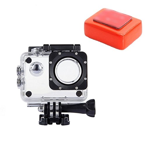 VVHOOY Action Camera Waterproof Protection Housing Case with Float Sponge Compatible with AKASO EK7000/APEMAN/Victure AC400 AC600/EKEN H9R/Vemont/Campark X15 X25/SJ4000 Underwater Sport Action Camera
